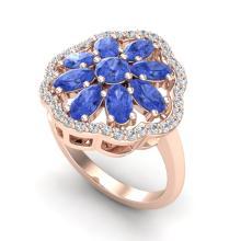 3 CTW Tanzanite & VS/SI Diamond Cluster Designer Halo Ring 10K Rose Gold - REF-67N5Y - 20788