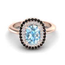 2.50 CTW Sky Blue Topaz With Black & Micro VS/SI Diamond Ring Halo 14K Rose Gold - REF-68T2M - 20725