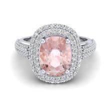 3.25 CTW Morganite & Micro Pave VS/SI Diamond Halo Ring 18K White Gold - REF-148Y9K - 20720