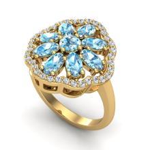 3 CTW Sky Blue Topaz & VS/SI Diamond Cluster Halo Ring 10K Yellow Gold - REF-52A2X - 20775