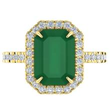 5.33 CTW Emerald And Micro Pave VS/SI Diamond Halo Ring 18K Yellow Gold - REF-87A6X - 21426