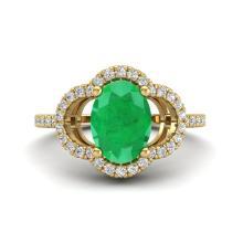 2 CTW Emerald & Micro Pave VS/SI Diamond Ring 10K Yellow Gold - REF-42Y8K - 20982