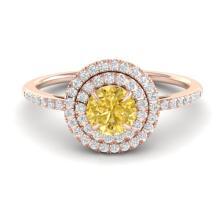 1 CTW Citrine & Micro VS/SI Diamond Ring Halo 14K Rose Gold - REF-54F2N - 21610