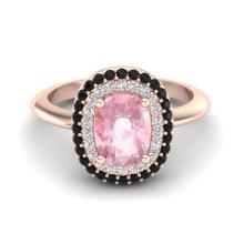 2.50 CTW Morganite With Black & Micro VS/SI Diamond Ring Halo 14K Rose Gold - REF-79T6M - 20734