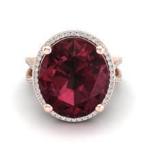 10 CTW Garnet & Micro Pave VS/SI Diamond Halo Ring 14K Rose Gold - REF-66X8T - 20962