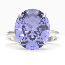 9 CTW Tanzanite Designer Solitaire Engagement Ring 18K White Gold - REF-292Y2K - 22123