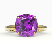 6 CTW Cushion Cut Amethyst Designer Solitaire Engagement Ring 18K Yellow Gold - REF-39H3A - 22170