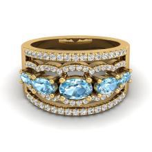2.25 CTW Sky Blue Topaz & Micro Pave VS/SI Diamond Designer Ring 10K Yellow Gold - REF-72X2T - 20796