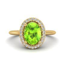 1.75 CTW Peridot & Micro VS/SI Diamond Ring Solitaire Halo 18K Yellow Gold - REF-51Y3K - 21017