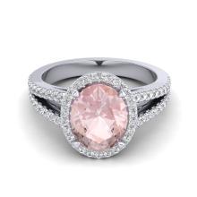 3 CTW Morganite & Micro VS/SI Diamond Halo Solitaire Ring 18K White Gold - REF-86T2M - 20944