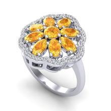 3 CTW Citrine & VS/SI Diamond Cluster Designer Halo Ring 10K White Gold - REF-52M2H - 20777