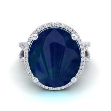 12 CTW Sapphire & Micro Pave VS/SI Diamond Halo Ring 18K White Gold - REF-143K6W - 20967