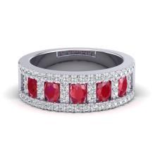 2.34 CTW Ruby & Micro Pave VS/SI Diamond Designer Inspired B& Ring 10K White Gold - REF-67X3T - 20826
