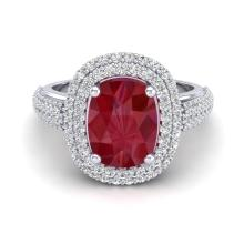 3.50 CTW Ruby & Micro Pave VS/SI Diamond Certified Halo Ring 18K Gold - 20721-REF-119F3X