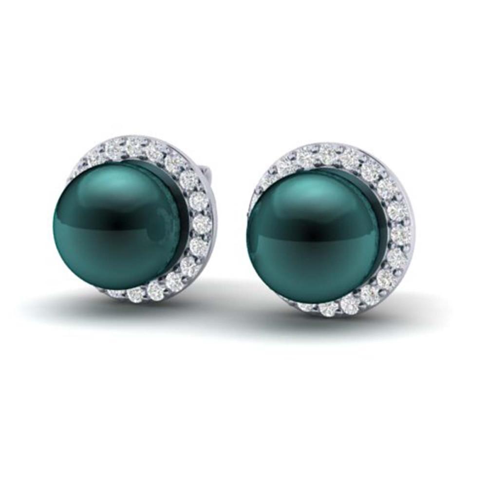 0.50 ctw VS/SI Diamond & Peacock Pearl Earrings 18K White Gold - REF-61M5F - SKU:21499