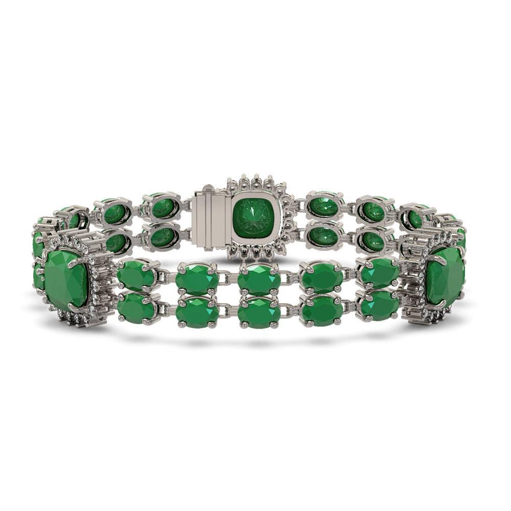21.83 ctw Emerald & Diamond Bracelet 14K White Gold - REF-294K4W - SKU:44738