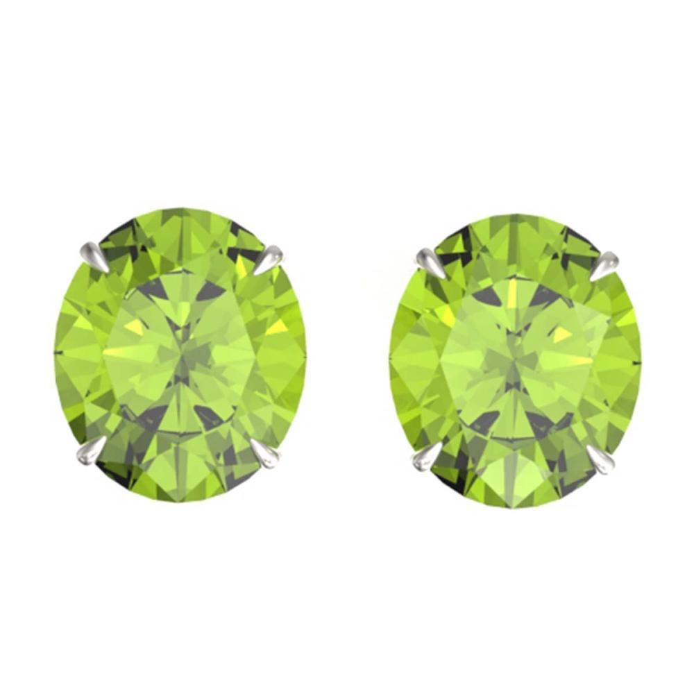 18 ctw Peridot Solitaire Stud Earrings 18K White Gold - REF-272N7A - SKU:21713