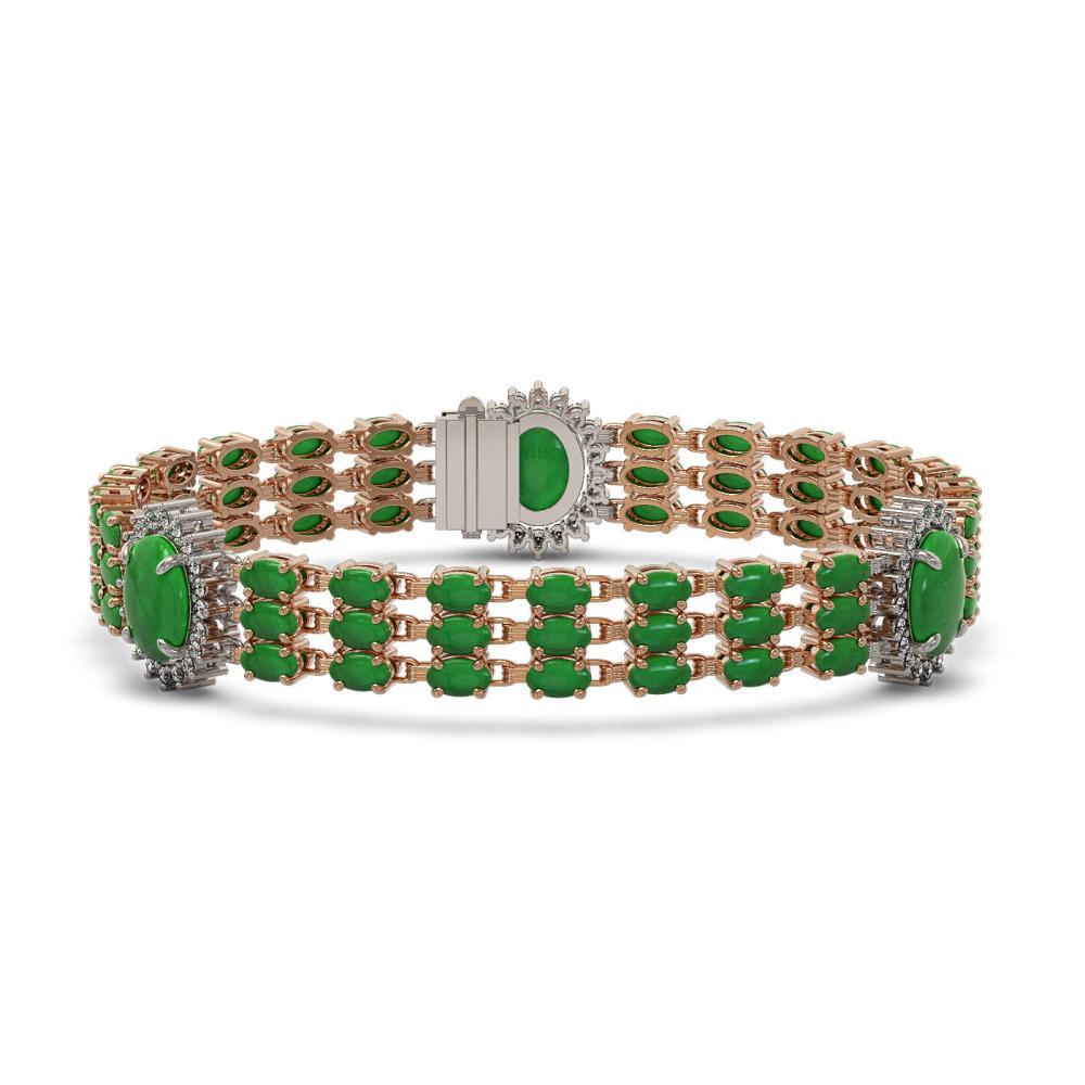 23.92 ctw Jade & Diamond Bracelet 14K Rose Gold - REF-303F8N - SKU:45306