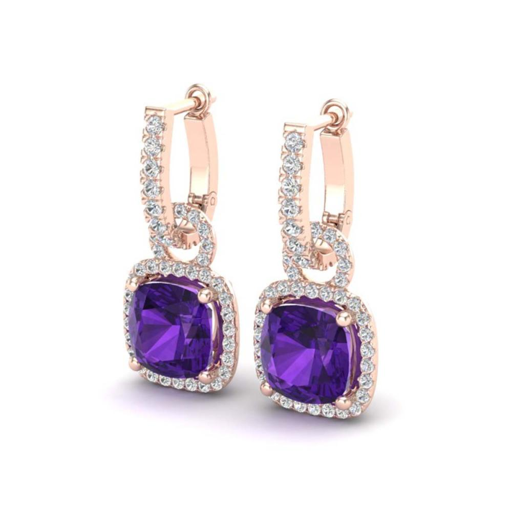7 ctw Amethyst & VS/SI Diamond Earrings 14K Rose Gold - REF-94F5N - SKU:22956