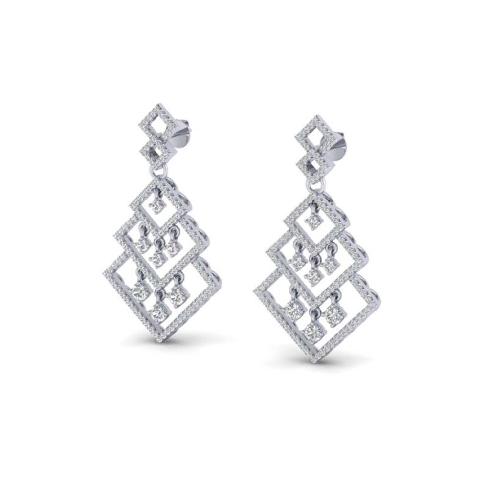 3 ctw VS/SI Diamond Earrings Dangling 14K White Gold - REF-267N6A - SKU:22488