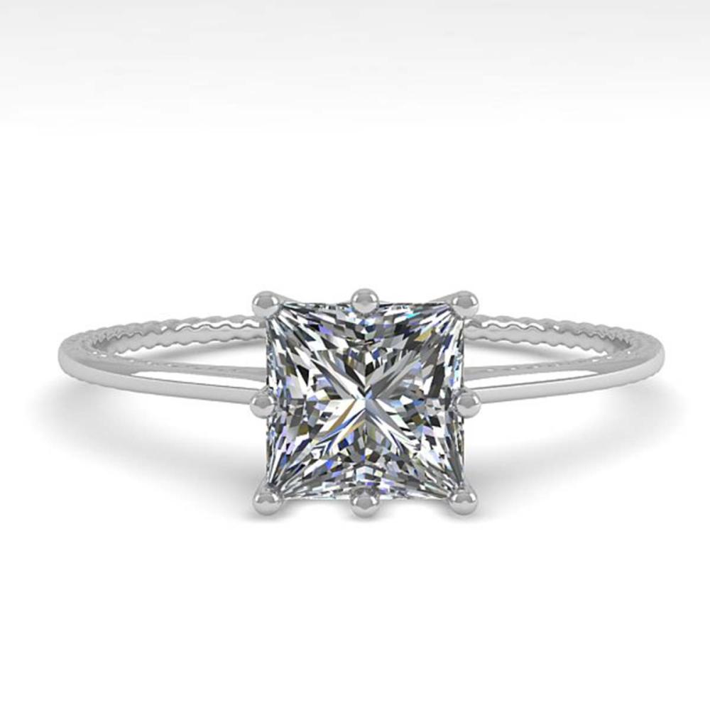 1.0 ctw VS/SI Princess Diamond Art Deco Ring 14K White Gold - REF-276K9W - SKU:29712