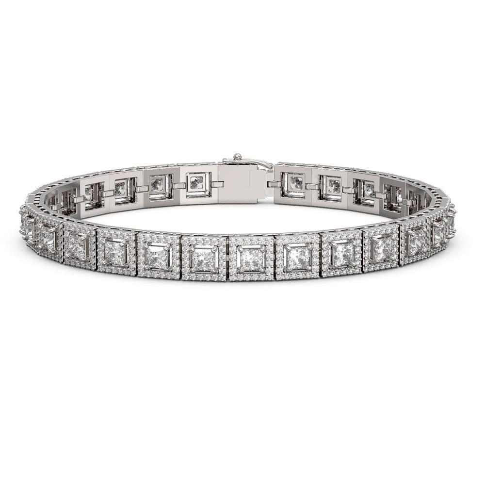10.8 ctw Princess Diamond Bracelet 18K White Gold - REF-923M9F - SKU:42905