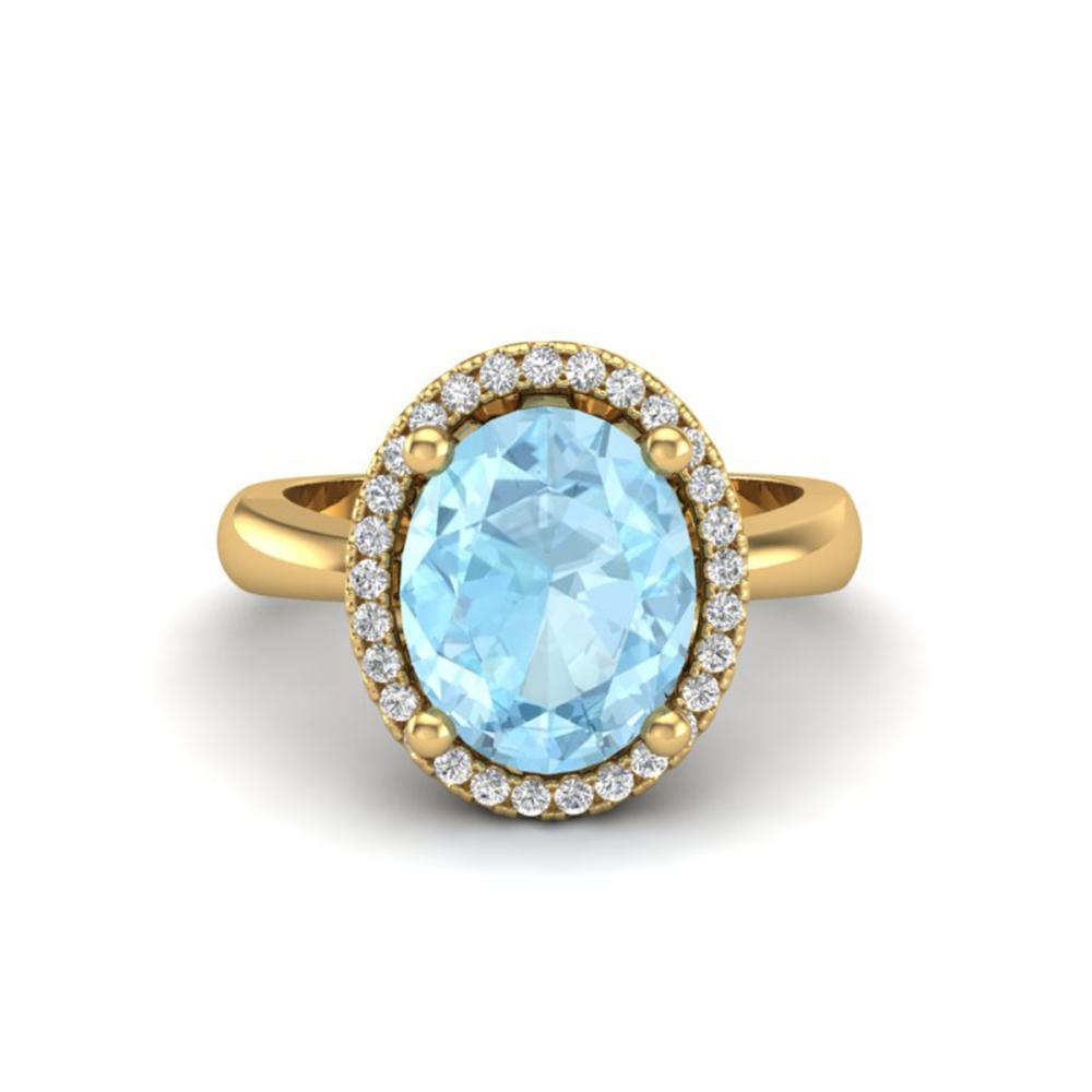 2.50 ctw Aquamarine & VS/SI Diamond Ring 18K Yellow Gold - REF-60X4R - SKU:21096