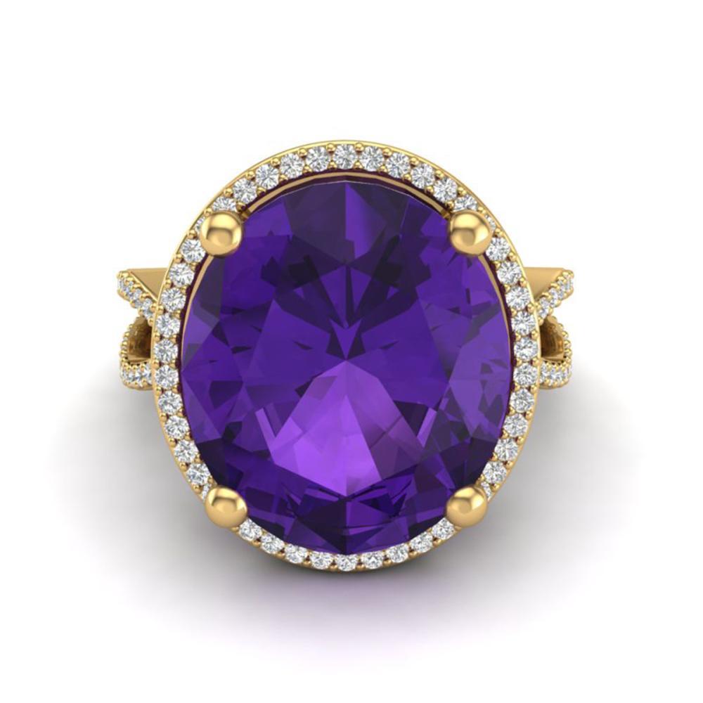 10 ctw Amethyst & VS/SI Diamond Ring 18K Yellow Gold - REF-80V2Y - SKU:20953