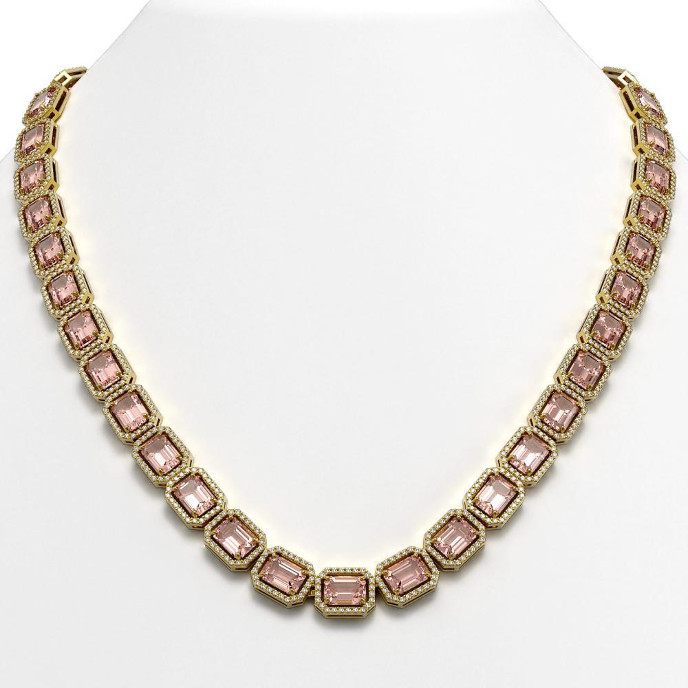50.99 ctw Morganite & Diamond Halo Necklace 10K Yellow Gold - REF-1273F5N - SKU:41344