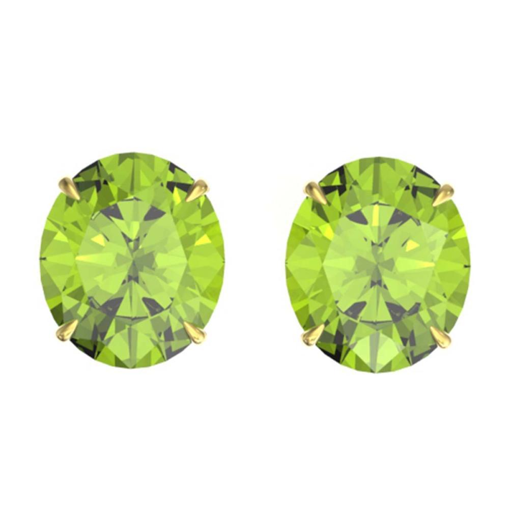 18 ctw Peridot Solitaire Stud Earrings 18K Yellow Gold - REF-272X7R - SKU:21714