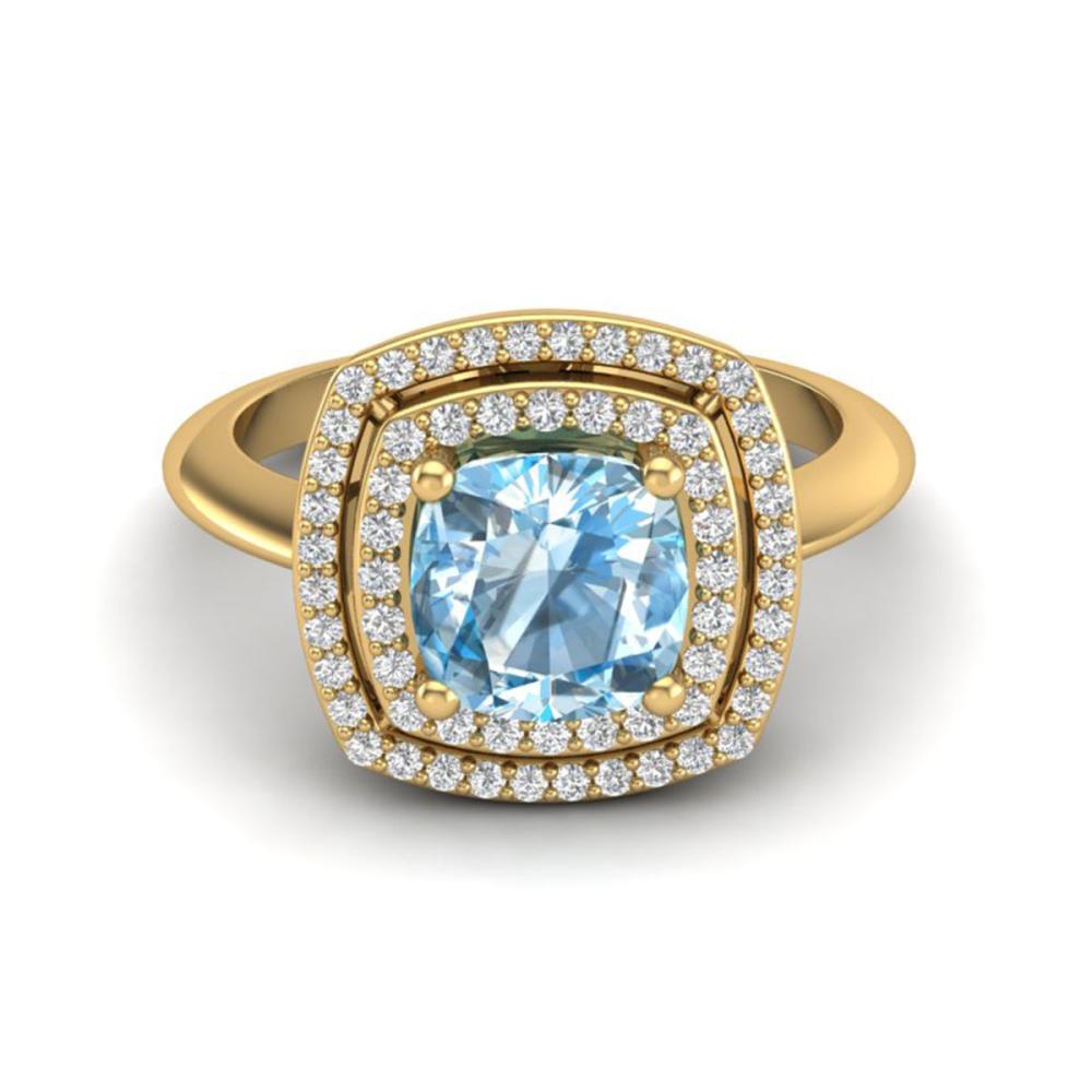 2.02 ctw Sky Blue Topaz & VS/SI Diamond Ring 18K Yellow Gold - REF-63W6H - SKU:20755