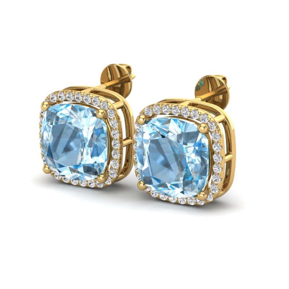 12 ctw Sky Blue Topaz & VS/SI Diamond Earrings 18K Yellow Gold - REF-83K3W - SKU:23072