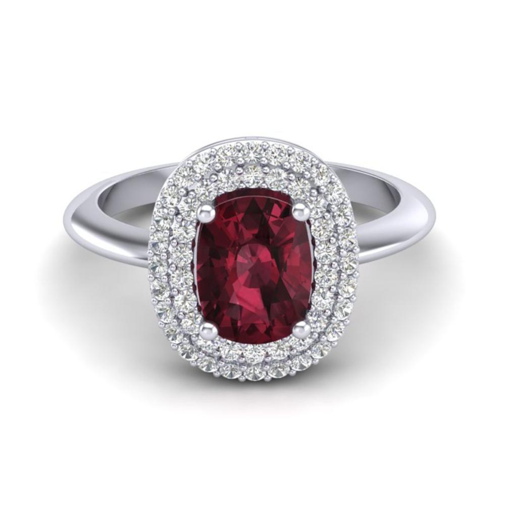 2.50 ctw Garnet With VS/SI Diamond Ring Halo 14K White Gold - REF-63W8H - SKU:20745