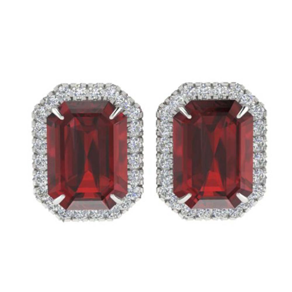12 ctw Garnet And VS/SI Diamond Earrings 18K White Gold - REF-83W6H - SKU:21227