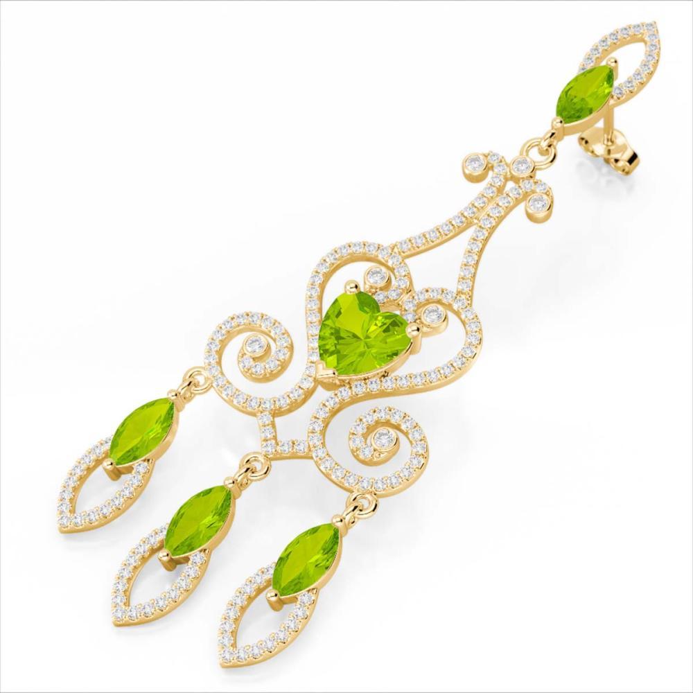 11 ctw Peridot & VS/SI Diamond Earrings 14K Yellow Gold - REF-343M6F - SKU:23576