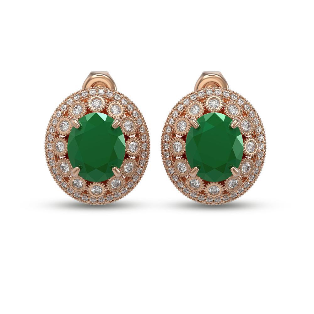 16.81 ctw Emerald & Diamond Earrings 14K Rose Gold - REF-362W2H - SKU:43791