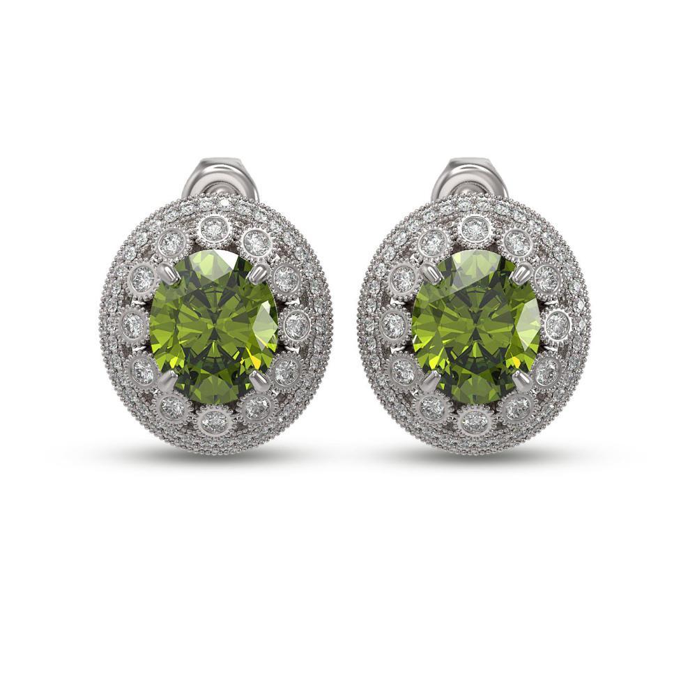 14.61 ctw Tourmaline & Diamond Earrings 14K White Gold - REF-372V7Y - SKU:43811
