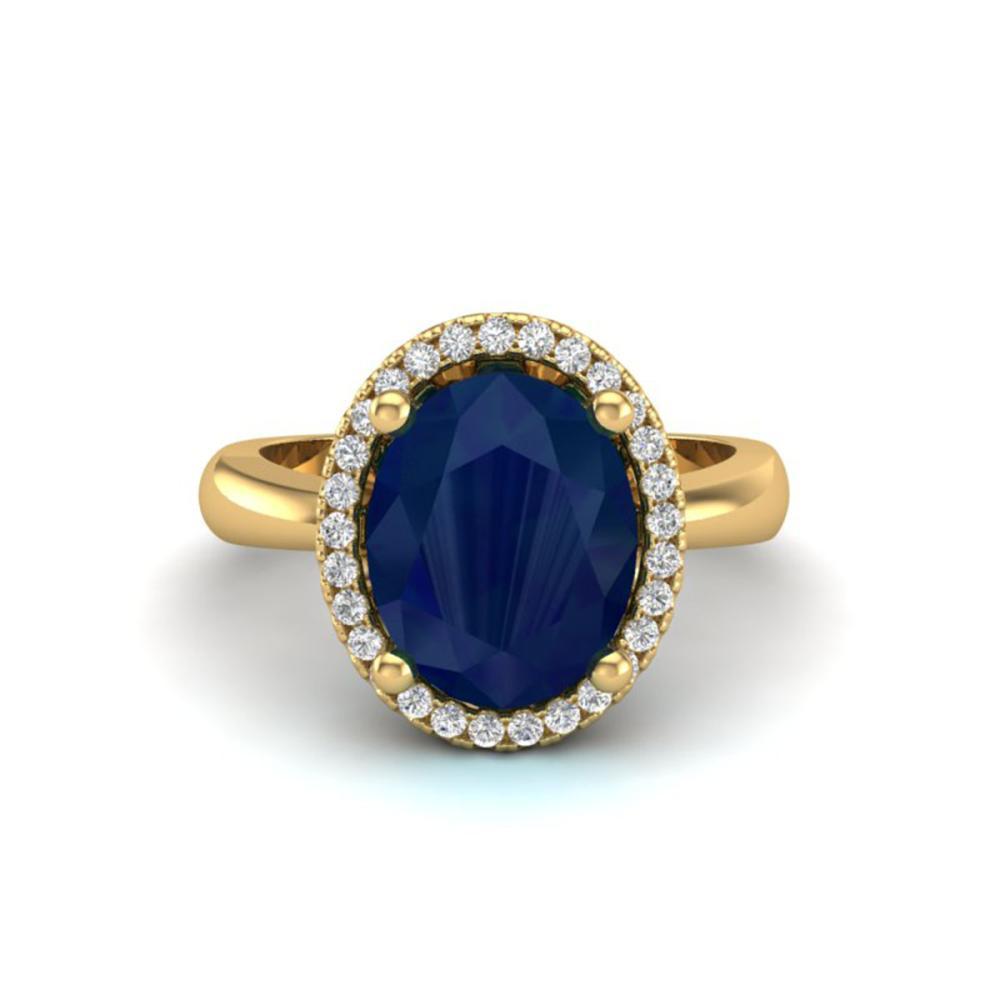 3 ctw Sapphire And VS/SI Diamond Ring 18K Yellow Gold - REF-60F2N - SKU:21115