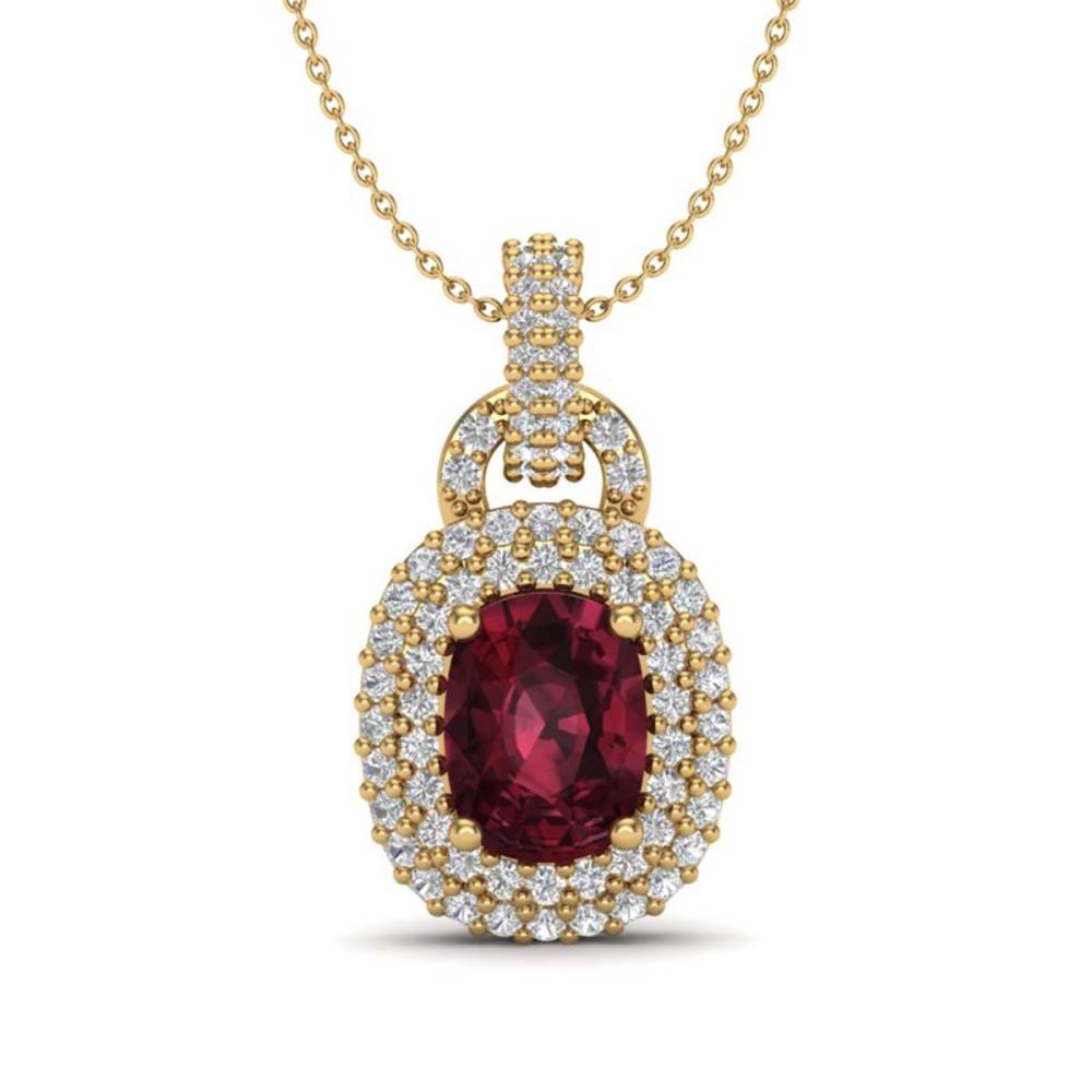 2.50 ctw Garnet And VS/SI Diamond Necklace 14K Yellow Gold - REF-68X2R - SKU:20441