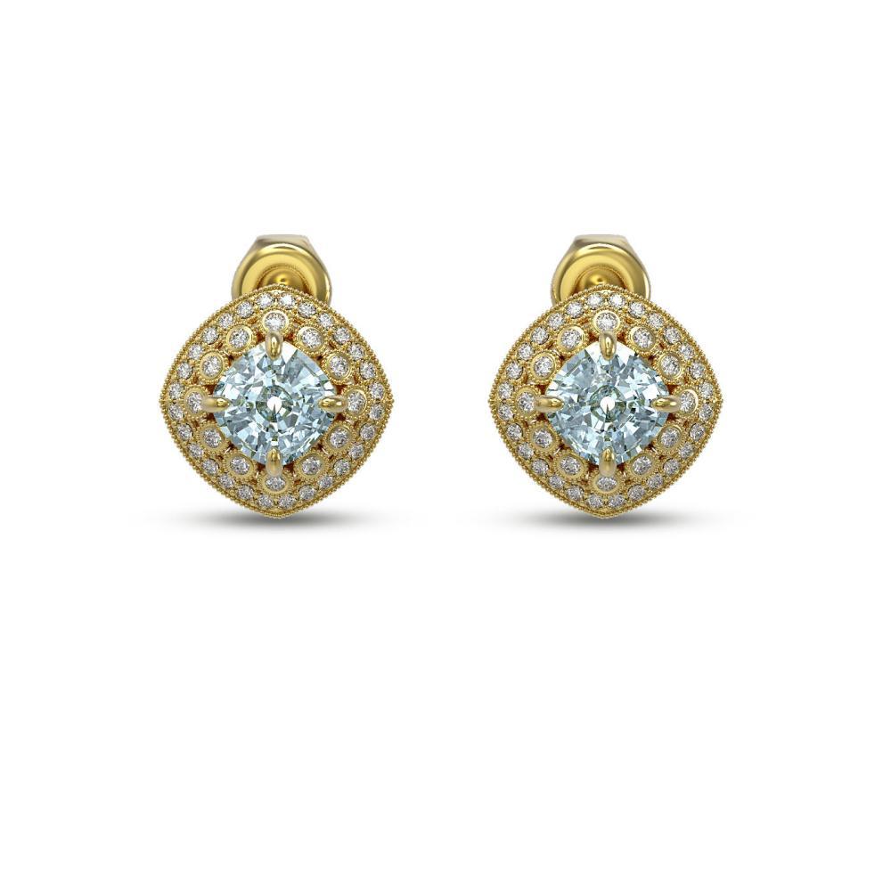 4.39 ctw Aquamarine & Diamond Earrings 14K Yellow Gold - REF-131W8H - SKU:44134