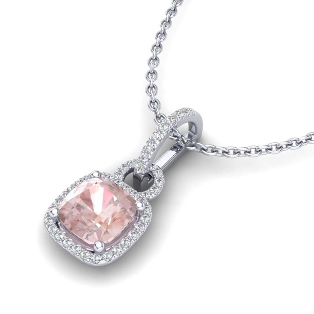 2.75 ctw Morganite & VS/SI Diamond Necklace 18K White Gold - REF-85M6F - SKU:22986