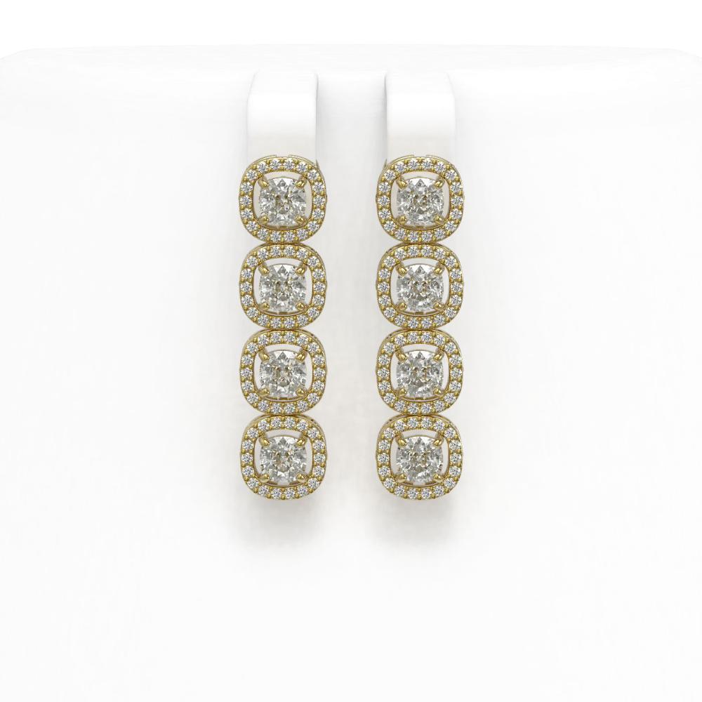 3.84 ctw Cushion Diamond Earrings 18K Yellow Gold - REF-337K5W - SKU:42901
