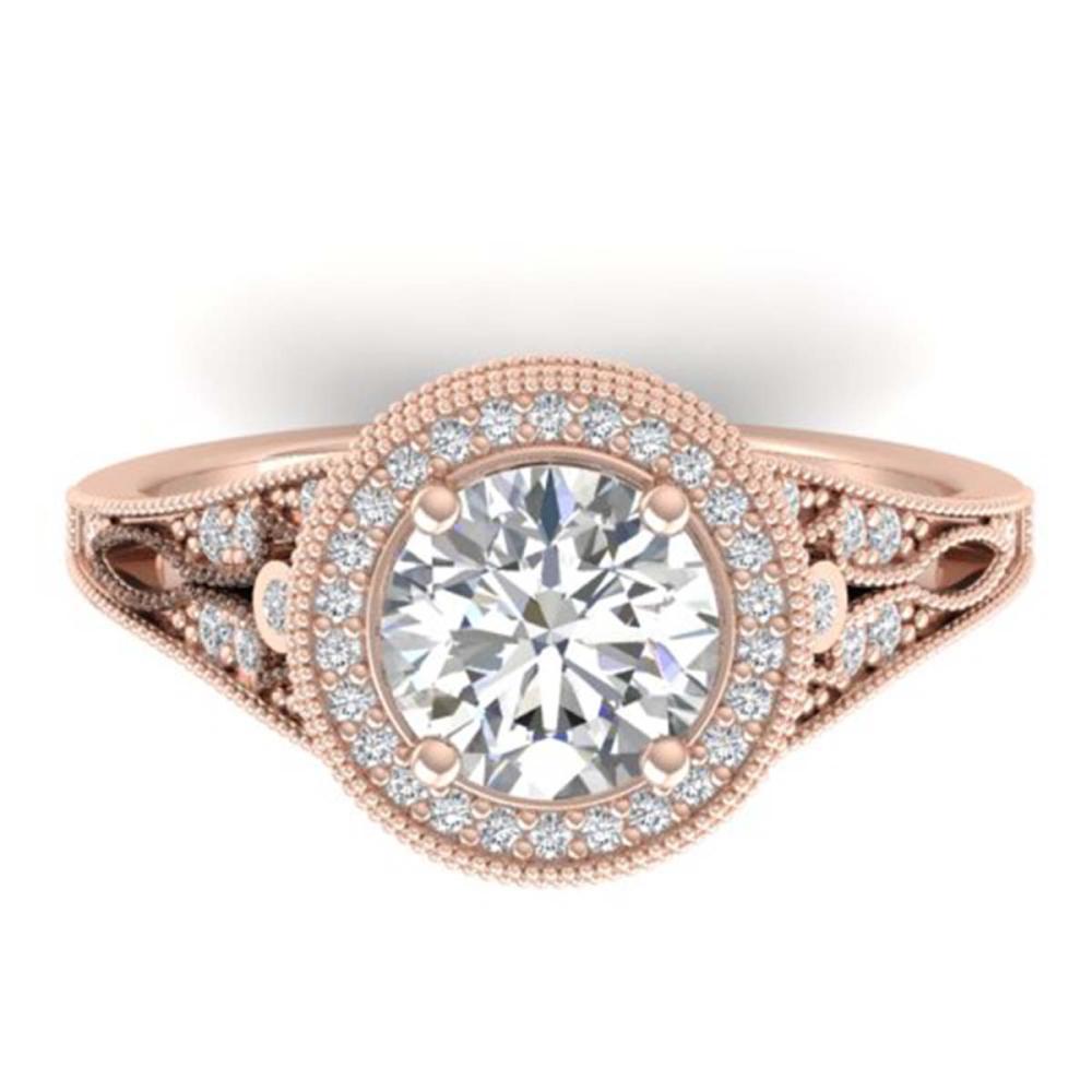 2.2 ctw VS/SI Diamond Art Deco Halo Ring 18K Rose Gold - REF-614K5W - SKU:32784