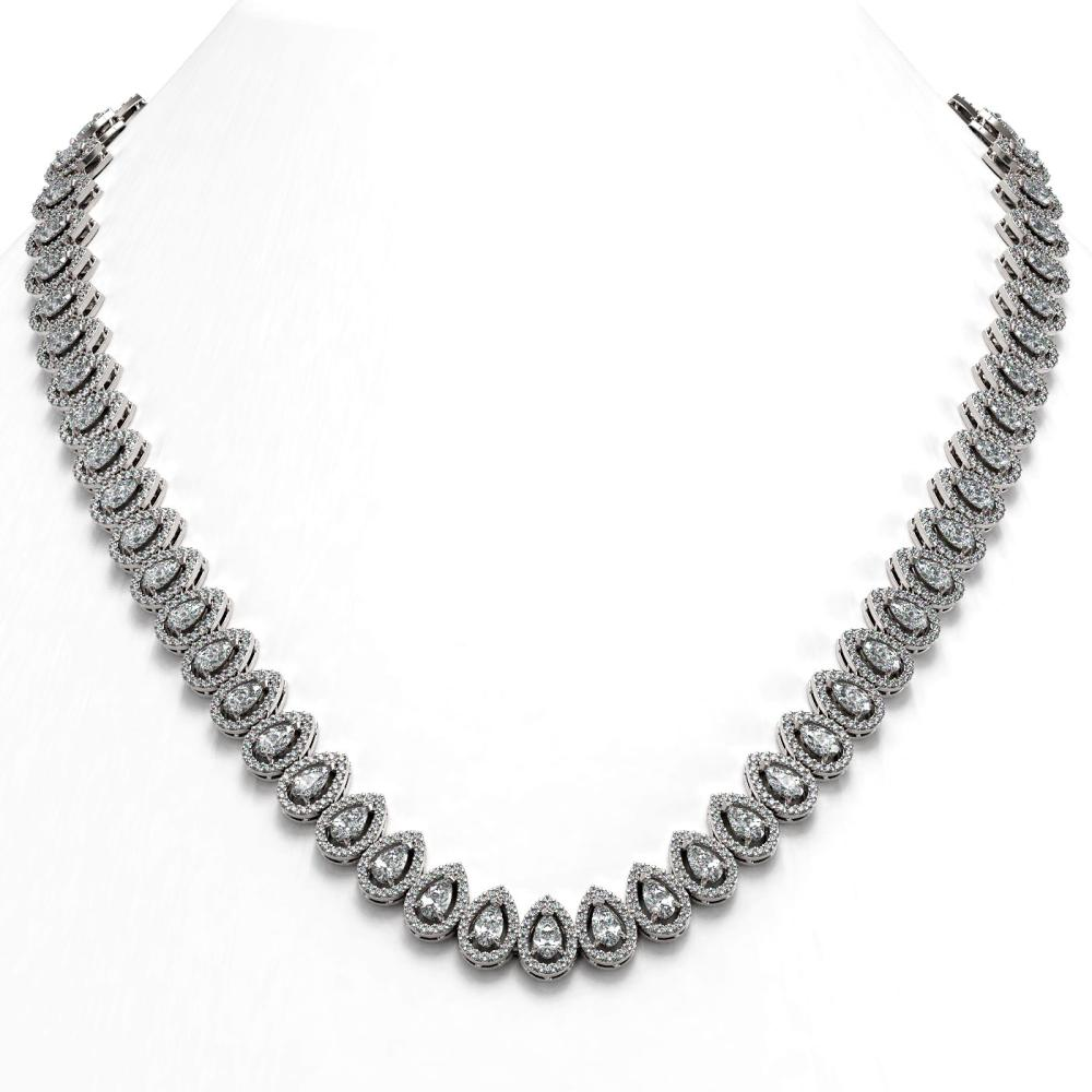 24.19 ctw Pear Diamond Necklace 18K White Gold - REF-2092M6F - SKU:42947