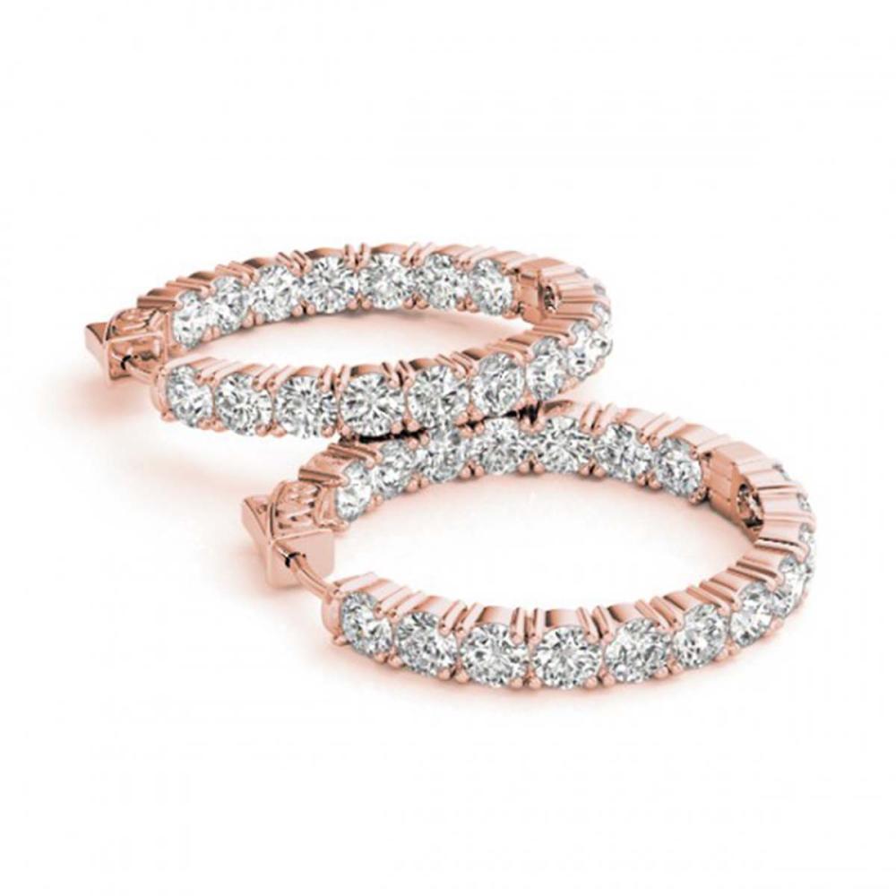 3.5 ctw Diamond VS/SI 22 mm Hoop Earrings 14K Rose Gold - REF-345X5R - SKU:29009