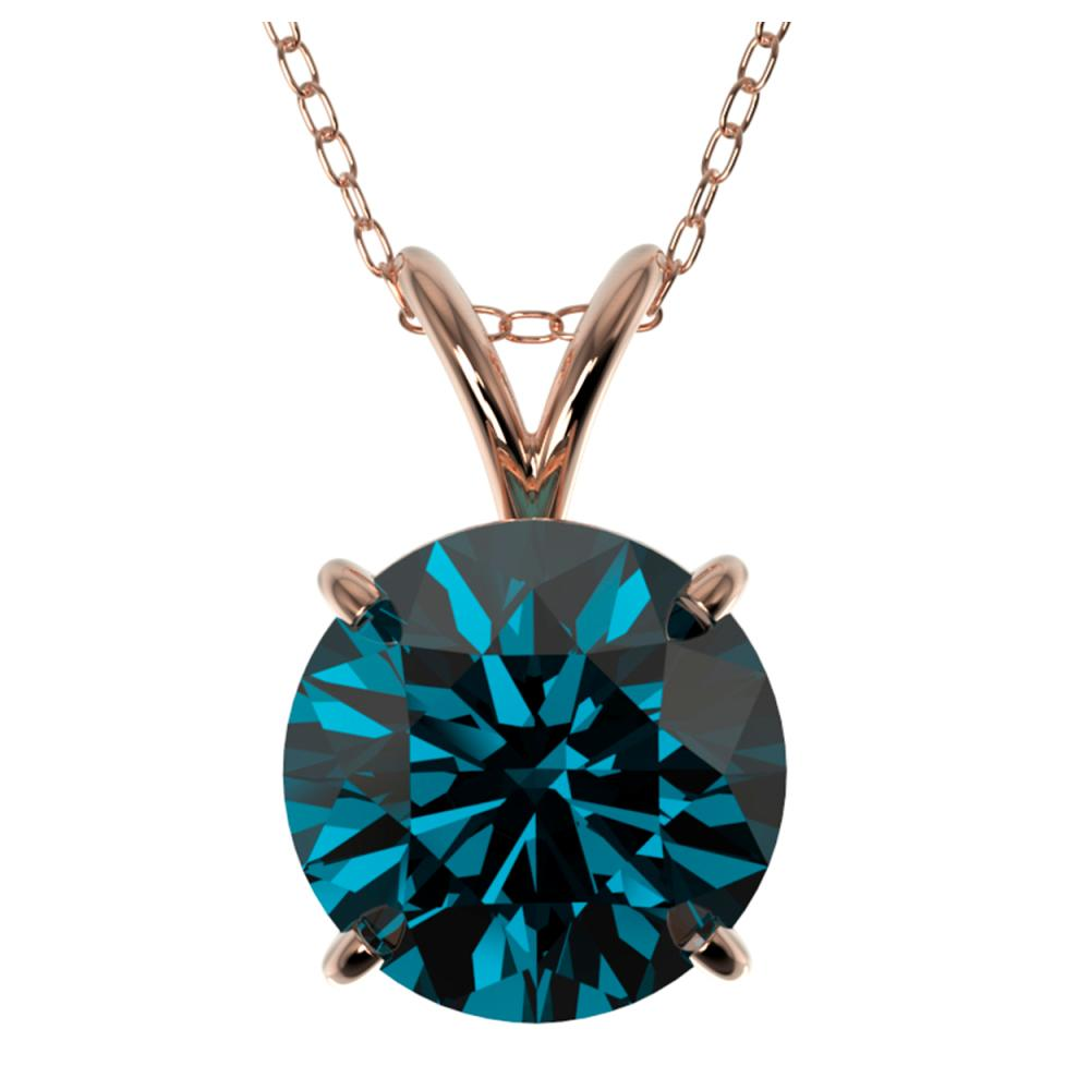 2 ctw Intense Blue Diamond Solitaire Necklace 10K Rose Gold - REF-343M2F - SKU:33237