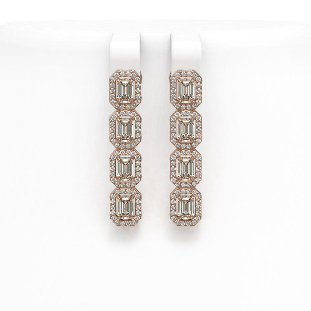 3.84 ctw Emerald Diamond Earrings 18K Rose Gold - REF-459V7Y - SKU:42936