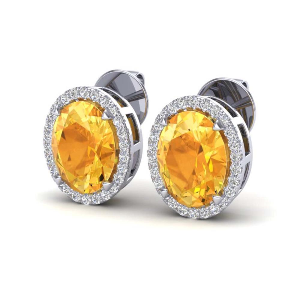 5.50 ctw Citrine & VS/SI Diamond Halo Earrings 18K White Gold - REF-63H3M - SKU:20246