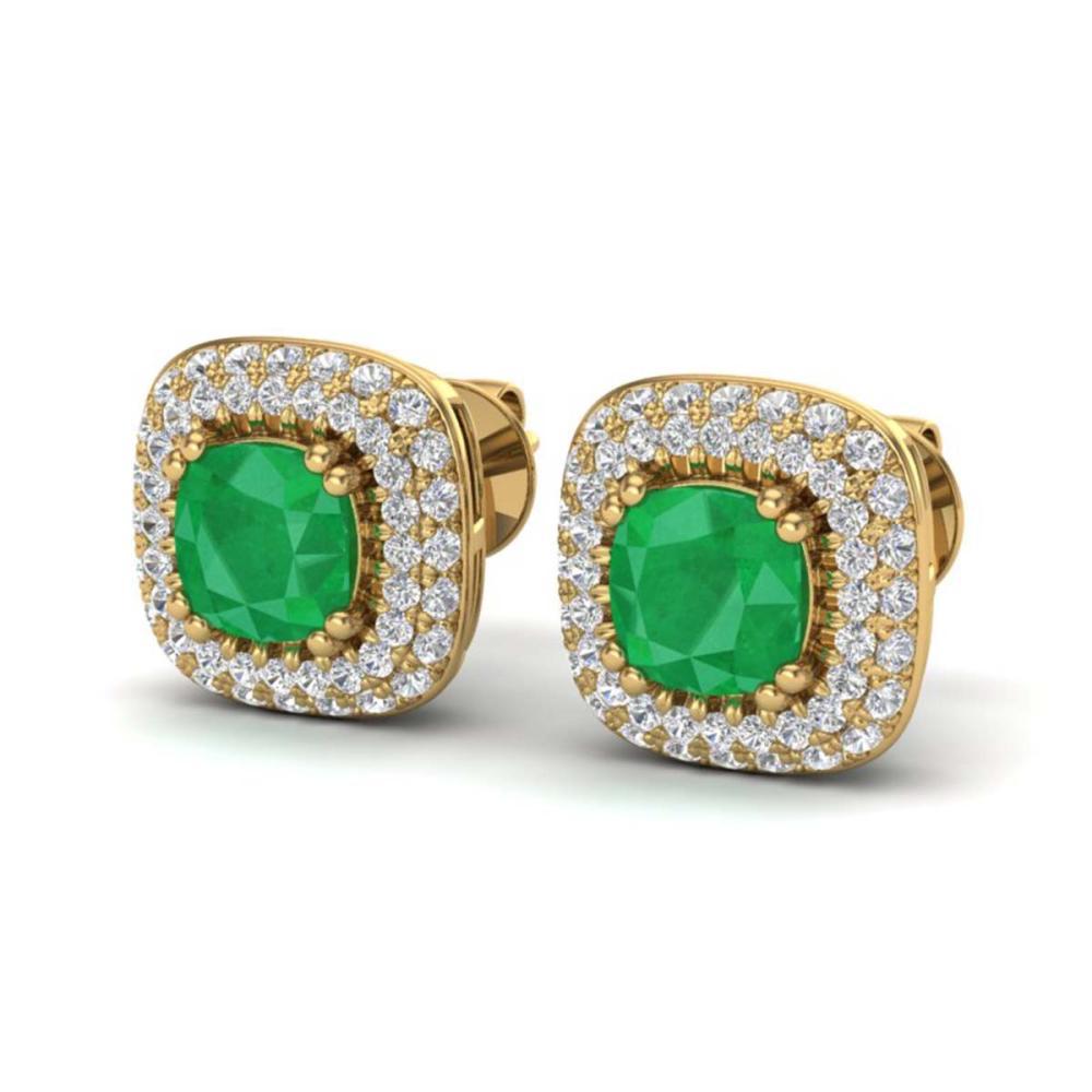 2.16 ctw Emerald & VS/SI Diamond Earrings Halo 18K Yellow Gold - REF-105R6K - SKU:20345