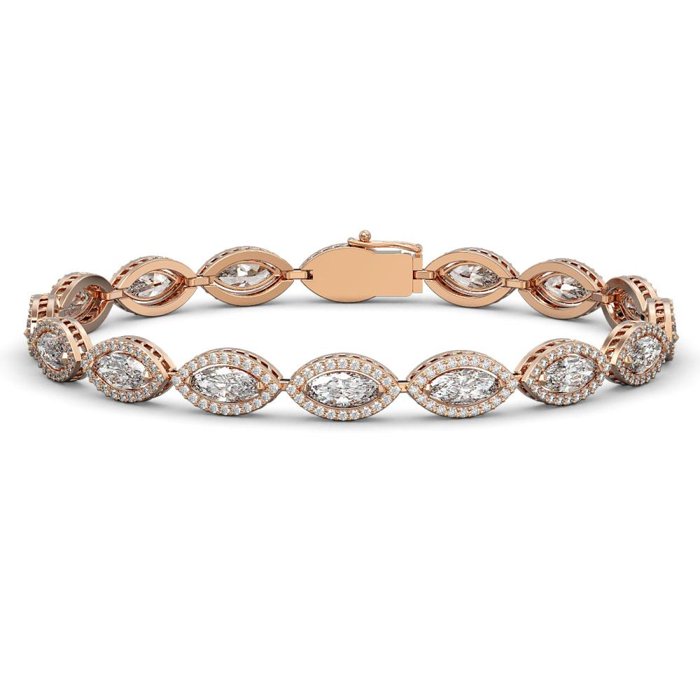10.61 ctw Marquise Diamond Bracelet 18K Rose Gold - REF-1459A6V - SKU:42654